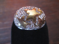prächtiger Statement Designer Ring 925er Silber Sterne gold Glitzer Pavée RG 57