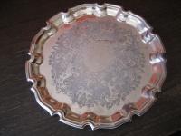 edles Silbertablett Sherry Tablett rund reich graviert silber pl 26, 5 cm England