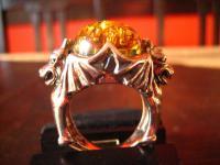 mächtiger Biker Ring 2 Drachen Drache Spinne 925er Silber RG 59 Gothic Unikat