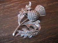 riesige Art Deco Markasit Brosche Distel Silberdistel 925er Silber TOP Zustand