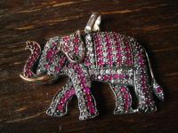 prächtiger großer Elefant Elefanten Anhänger 925er Silber Rubin Zirkonia