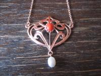 zauberhaftes Jugendstil Collier Kette 925er Silber Roségold Rote Koralle Perle