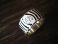origineller Ring Bandring Emaille emailliert Zebra Muster 925er Silber NEU RG 58