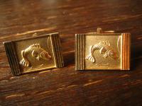 tolle vintage Manschettenknöpfe für Angler Forelle Lachs Fisch an Angel gold