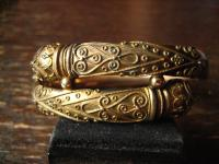 herrlicher Jugendstil Armreif Schlange Schlangen Schlangenarmreif gold Doublé