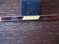 Art Deco vom Feinsten Bernstein Brosche Krawattennadel Butterscotch Amber Silber