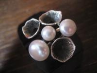 origineller Designer Ring echte Zuchtperlen organische Struktur 925er Silber NEU