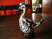 Rarität Murano Glas Muranoglas Überfangglas Millefiori Ente Figur Unikat
