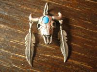 starker Indianer Anhänger Büffel Skull 925er Silber Indianer Native Navajo Indianerschmuck