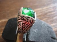 exklusiver reich verzierter Herrenring 925er Silber grüner Stein RG 67 21, 25 mm