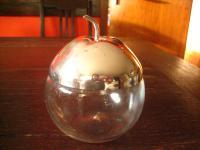 dekoratives Marmeladenglas Honigglas Apfel Form Glas silber deckel pl England