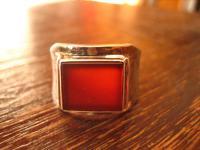 wuchtiger Art Deco Herrenring Siegelring Ring 835er Silber Carneol RG 63 Unikat