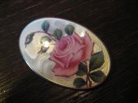 prächtige große Jugendstil Brosche Emaille Rosen Rose Emailmalerei 935er Silber