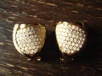 extravagante Vintage Designer Ohrringe Clips gold Kristall Pavé Henkel & Grossé