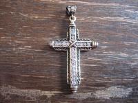 Kronjuwelen gesucht ? prächtiger großer Kreuz Anhänger 925er Silber gold Zirkonia