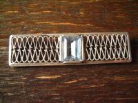 tolle Art Deco Brosche Krawattennadel aquamarin Stein 835er Silber Handarbeit