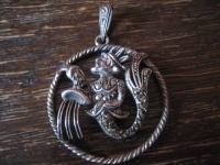großer Art Deco Markasit Anhänger Sternzeichen Wassermann Horoskop 925er Silber