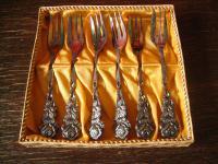 6 zauberhafte Kuchengabeln Kuchengabel kleine Gabeln Hildesheimer Rose im Karton
