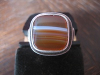 exklusiver Art Deco Herrenring Siegelring Ring 835er Silber Streifenachat RG 57