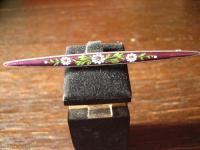 edle Jugendstil Krawattennadel 935er Silber Emaille Emailmalerei zarte Blüten