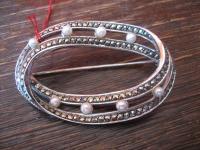 große elegante Art Deco Markasit Brosche mit Perlen 925er Silber TOP Zustand
