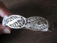 breiter Jugendstil Armreif feine Filigranarbeit 800er Silber super Handarbeit