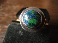 zeitlos eleganter Vintage Designer Ring Azurit Malachit 925er Silber 17, 5 m G 55