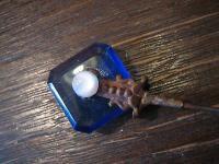 wunderschöne blaue Art Deco Hutnadel lange Nadel blau long Hat Pin 23 cm lang