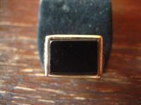 geschmackvoller Herrenring Siegelring Ring 925er Silber gold Onyx RG 65 20.75 mm