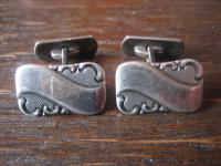 elegante Jugendstil Manschettenknöpfe 835er Silber schön verziert