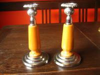 Paar 2 Stück edle antike Kerzenständer Kerzenleuchter Holz mit silber Montur