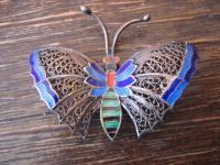 bezaubernd antike Schmetterling Brosche bunt emaillierte Flügel Emaille Filigree