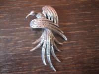 prächtige Art Deco Markasit Brosche Paradiesvogel 925er Silber TOP Zustand
