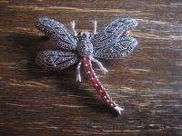 traumhaft schöne Markasit Brosche Libelle 925er Silber rote Steine Markasiten