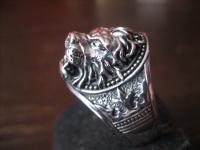 prächtiger Löwen Ring Löwe Löwenkopf plastisch 925er Silber neu et Nox RG 65