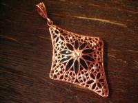 bezaubernd antiker Anhänger Emaille feinste Filigranarbeit 925er Silber rotgold