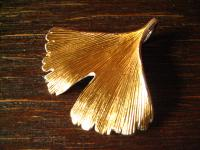 großer Gingko Ginkgo Blatt Anhänger 925er Silber teils gold fein ausgearbeitet