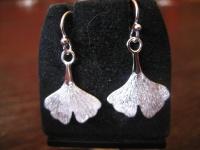 elegante Gingko Ginkgo Blatt Ohrringe Hänger 925er Silber fein ausgearbeitet