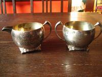 Art Deco Milch & Zucker Set Milchkännchen Zuckerdose Zuckertopf Füsse silber