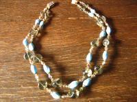 prächtiges böhmisches Vintage Glasperlen Collier Türkis Kette 2reihig exklusiv