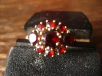 Feiner Art Deco Granat Ring 333er Gold böhmische Granate zeitlos nostalgisch