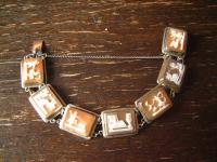 Traum Jugendstil Armband 900er Silber 7 Stück Kamee Cameo Muschelgemme Szenen