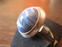 prächtiger Art Deco Ring blauer Achat Cabochon 830er Silber RG 54 / 55 17, 25 mm
