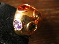 witziger vintage Designer Ring Cocktailring 925er Silber gold Topas RG 21 16 mm