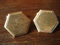 elegante Art Deco Manschettenknöpfe 6eckig 835er Silber teils gold Bicolor Optik