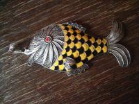 einmaliger riesiger Fisch Anhänger Goldfisch 925er Silber Emaille Handarbeit