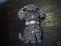 seltene süße Vintage Galuchat Markasit Pudel Hund Brosche silber ausgefallen