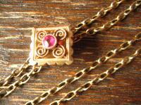 überlange Jugendstil Schieberkette Damen Uhrenkette 138 cm Kette Schieber gold