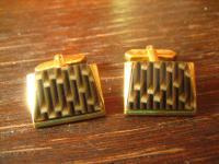 ausgefallene Vintage Manschettenknöpfe Pâte de Verre gold dekoratives Muster