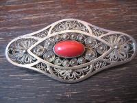prächtige Art Deco Brosche rote Koralle Silber vergoldet allerfeinste Handarbeit